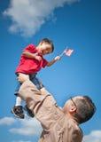 Niño y padre militares Imagen de archivo