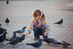 Niño y palomas Foto de archivo