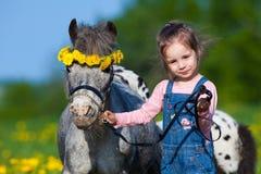 Niño y pequeño caballo en campo Imagen de archivo libre de regalías