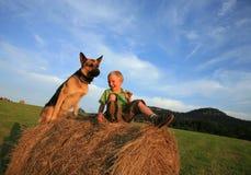 Niño y perro Fotos de archivo libres de regalías