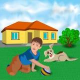 Niño y perro cerca de la casa Imagen de archivo
