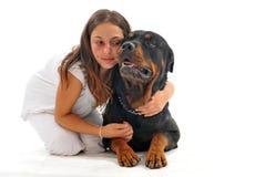Niño y rottweiler Imagen de archivo libre de regalías