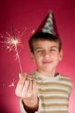Niño y sparklers Imagen de archivo