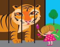 Niño y tigre en el parque zoológico Foto de archivo
