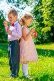 Niños 6 años de edad con las burbujas de jabón en el na Imagen de archivo libre de regalías