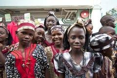 Niños africanos que sonríen feliz Foto de archivo