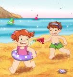 Niños al mar stock de ilustración