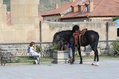 Niños cerca del caballo negro en la pared de piedra imagenes de archivo
