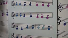 Niños coloridos de la enseñanza del cartel de la pared de las notas musicales sobre notas musicales y la alegría de la música almacen de metraje de vídeo