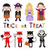 Niños coloridos lindos de Halloween fijados Fotografía de archivo libre de regalías