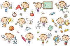 Niños con cosas de la escuela stock de ilustración