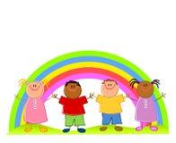 Niños con el arco iris aislado