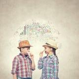 Niños con el bigote Fotografía de archivo libre de regalías