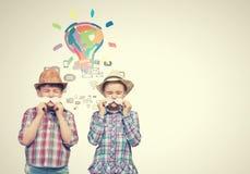 Niños con el bigote Foto de archivo libre de regalías