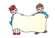 Niños con el cartel Imagen de archivo