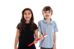 Niños con el cepillo de dientes Fotografía de archivo libre de regalías