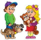 Niños con el tema 1 de los animales domésticos Imagen de archivo libre de regalías
