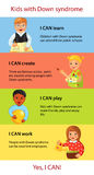 Niños con infographics de los hechos de Síndrome de Down Foto de archivo libre de regalías