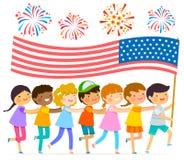 Niños con la bandera americana Fotos de archivo libres de regalías