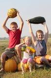 Niños con la calabaza Fotografía de archivo