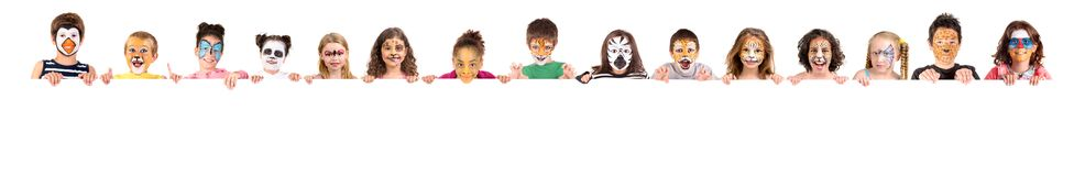 Niños con la cara-pintura animal imagen de archivo