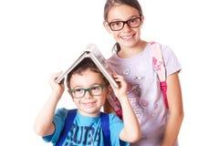 Niños con las gafas foto de archivo