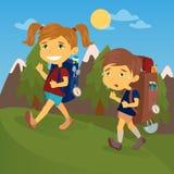 Niños con las mochilas del viaje Muchacho y girl scout stock de ilustración