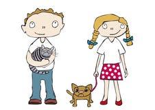 Niños con los animales domésticos Fotografía de archivo