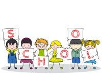 Niños con los carteles de la escuela ilustración del vector