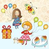Niños con los globos Foto de archivo libre de regalías