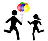 Niños con los globos ilustración del vector