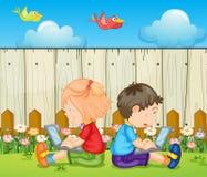 Niños con los ordenadores portátiles ilustración del vector
