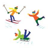 Niños con los patines, los esquís y los trineos de hielo Imagen de archivo