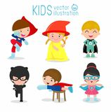 Niños con los trajes del super héroe, niños del super héroe, niños del super héroe ilustración del vector