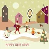 Niños con Papá Noel ilustración del vector