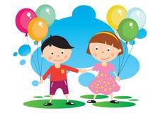 Niños con un globo Foto de archivo libre de regalías