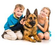 Niños con un perro de pastor Foto de archivo libre de regalías