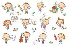 Niños contratados a diversas actividades creativas libre illustration