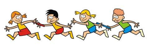 Niños corrientes, retransmisión Imagenes de archivo