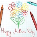 Niños de flor que dibujan para el día de madres Imagenes de archivo