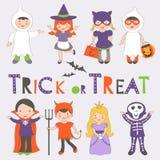 Niños de Halloween fijados Fotografía de archivo