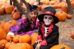 Niños de Halloween, niños Foto de archivo libre de regalías