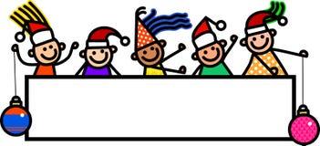Niños de la bandera de la Navidad stock de ilustración