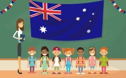 Niños de la bandera de School Holding Australia del profesor stock de ilustración