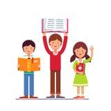 Niños de la escuela y del preescolar que sostienen los libros en manos ilustración del vector