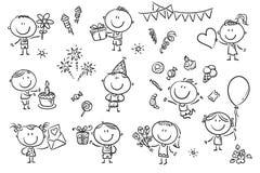 Niños de la fiesta de cumpleaños fijados stock de ilustración