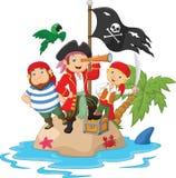 Niños de la historieta atrapados en las áreas del tesoro de la isla Imagen de archivo libre de regalías
