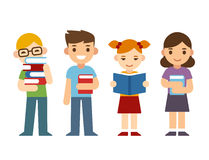 Niños de la historieta con los libros libre illustration