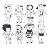 Niños de la historieta en diversos trajes tradicionales Imagenes de archivo