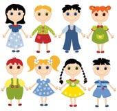 Niños de la historieta fijados. Imagen de archivo